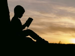 Young Boy Reading Fishing Book